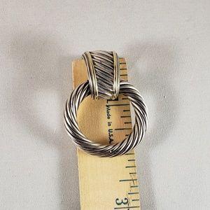 David Yurman Jewelry - David Yurman SS and 14K Gold Doorknocker Earrings